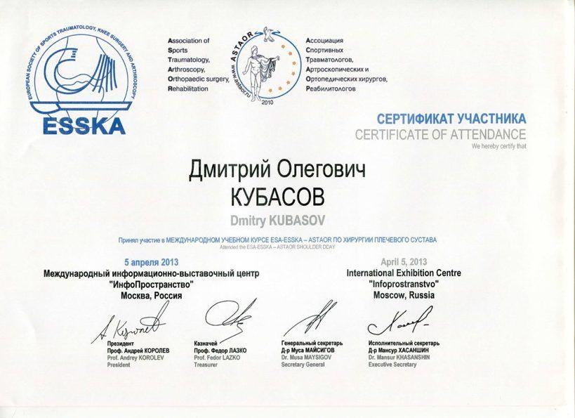 2013-ESA-ESSKA-ASTAOR-хирургия плечевого сустава - М