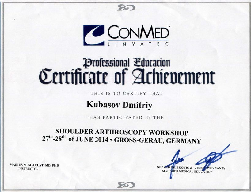 2014 - Shoulder Arthroscopy Workshop Germany